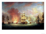 The Moonlight Battle: the Battle off Cape St. Vincent, 16th January 1780 Giclee Print by Richard Paton