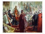 Emperor Franz Joseph I and Empress Elizabeth in Budapest, 8th July 1896 Giclee Print by Gyula Benczur
