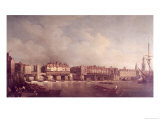 London Bridge Before the Alteration in 1757 Giclee Print by Samuel Scott