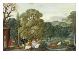 Abraham Entertaining the Three Angels Giclee Print by Johann Or Hans Konig
