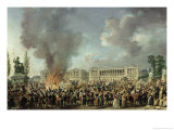 Celebration of Unity, Destroying the Emblems of Monarchy, Place de La Concorde, 10th August 1793 Giclee Print by Pierre-Antoine Demachy