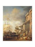 A Thames Wharf, circa 1750s Giclee Print by Samuel Scott