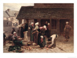 The Market Place of Ploudalmezeau, Brittany, 1877 Giclee Print by Léon Augustin L'hermitte