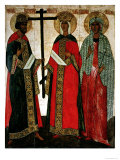 Icon Depicting Ss. Constantine, Helena and Agatha, Novgorod School, circa 1500 Giclee Print by Dionisy
