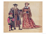 "Rosalind and the Old Duke, Costume Design for ""As You Like It"" Giclee Print by C. Wilhelm"