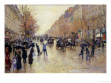 Boulevard Poissoniere in the Rain, circa 1885 Giclee Print by Jean Béraud