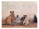 On the Beach at Trouville, circa 1865 Giclee Print by Eugène Boudin