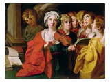 St. Cecilia with a Choir Lámina giclée por Domenichino