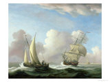 A Man-O-War in a Swell and a Sailing Boat Giclee Print by Peter Monamy