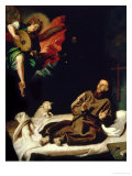 St. Francis Comforted by an Angel Musician Reproduction procédé giclée par Francisco Ribalta