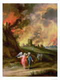 Lot and His Daughters Leaving Sodom Giclee Print by Louis de Caullery