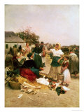 The Poultry Market, 1885 Giclee Print by Lajos Deak Ebner