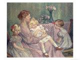 Madame Van de Velde and Her Children, 1903 Giclee Print by Théo van Rysselberghe