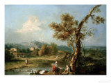 An Italianate River Landscape with Travellers Giclee Print by Francesco Zuccarelli