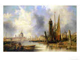 View of London with St. Paul's Giclee Print by John Wilson Carmichael