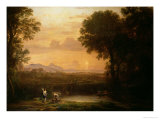 Landscape at Dusk Giclee Print by Claude Lorrain