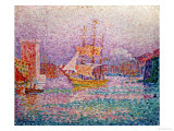 Harbour at Marseilles, circa 1906 Gicleetryck av Paul Signac