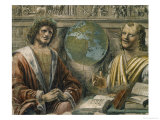 "Heraclitus and Democritus from a Fresco Originally in the ""Sala Dei Baroni"" of Palazzo Panigarola Giclee Print by Donato Bramante"
