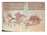 Richard Marshal Unhorses Baldwin of Guisnes at Monmouth, Historia Major, 1233 Giclee Print by Matthieu Paris
