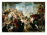 The Rape of the Sabine Women, circa 1635-40 Giclée-Druck von Peter Paul Rubens
