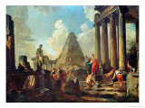 Alexander III the Great Before the Tomb of Achilles Reproduction giclée Premium par Giovanni Paolo Pannini