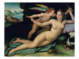Venus and Cupid Giclee Print by Alessandro Allori