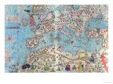 Catalan Atlas: Detail of North Africa and Europe, by Abraham and Jafunda Cresques, 1375 Giclee Print