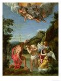 Kristi dåb Giclée-tryk af Francesco Albani