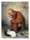 Little Girl with a Rabbit Premium Giclee Print by Hermann Kaulbach