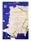 "Map of Spain and Portugal, from ""Geographia"" Giclee Print by  Ptolemy"