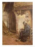 Old Woman Peeling Potatoes Giclee Print by Walter Langley