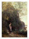 A Peasant Woman Grazing a Cow at the Edge of a Forest Giclee Print by Jean-Baptiste-Camille Corot