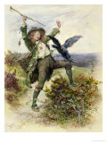 Barnaby Rudge and the Raven Grip Giclee Print by Frederick Barnard