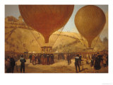 "The Departure of Leon Michel Gambetta in the Balloon ""L'Armand-Barbes"", 7 October 1870 Giclee Print by Jules Didier"