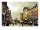 Street Scene in New York Giclee Print by Hippolyte Victor Valentin Sebron