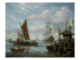 Estuary Scene with Boats and Fisherman Giclee Print by Johannes De Blaauw