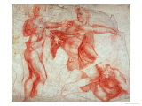 Studies of Male Nudes Giclee Print by  Michelangelo Buonarroti