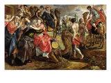 Rebecca Bidding Farewell to Her Family, circa 1562 Giclée-Druck von Maarten de Vos