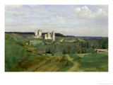 View of the Chateau de Pierrefonds, circa 1840-45 Giclee Print by Jean-Baptiste-Camille Corot
