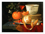 Still Life of an Orange, a Lemon and Strawberry on a Pewter Plate, a Wan-Li Bowl Behind Giclee Print by Elias Van Den Broeck