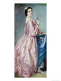 Lady Holding Flowers in Her Petticoat Giclee Print by Augustus Jules Bouvier