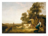 A Landscape with Shepherds and Shepherdesses Giclee Print by Aelbert Cuyp