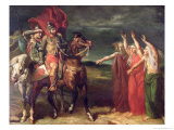 Macbeth and the Three Witches, 1855 Premium Giclee Print by Theodore Chasseriau