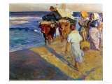 Towing in the Boat, Valencia Beach, 1916 Giclee Print by Joaquín Sorolla y Bastida
