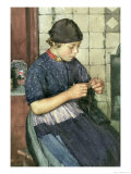 Girl Knitting Giclee Print by Walter Langley