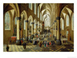 Figures Gathered in a Church Interior Reproduction proc&#233;d&#233; gicl&#233;e par Pieter Neeffs the Younger