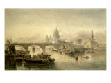 St. Paul&#39;s Cathedral and London Bridge from the Surrey Side, 1864 Giclee Print by Edward Angelo Goodall