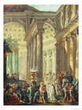 T28517 Capriccio of a Roman Temple with Alexander the Great Entering in Triumph, 1755-60 Reproduction procédé giclée par Hubert Robert
