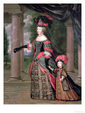 Maria Theresa Wife of Louis XIV, with Her Son the Dauphin Louis of France after 1661 Giclee Print by Pierre Mignard