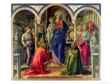 The Barbadori Altarpiece: Virgin and Child Surrounded by Angels with St. Frediano and St. Augustine Premium Giclee Print by Fra Filippo Lippi